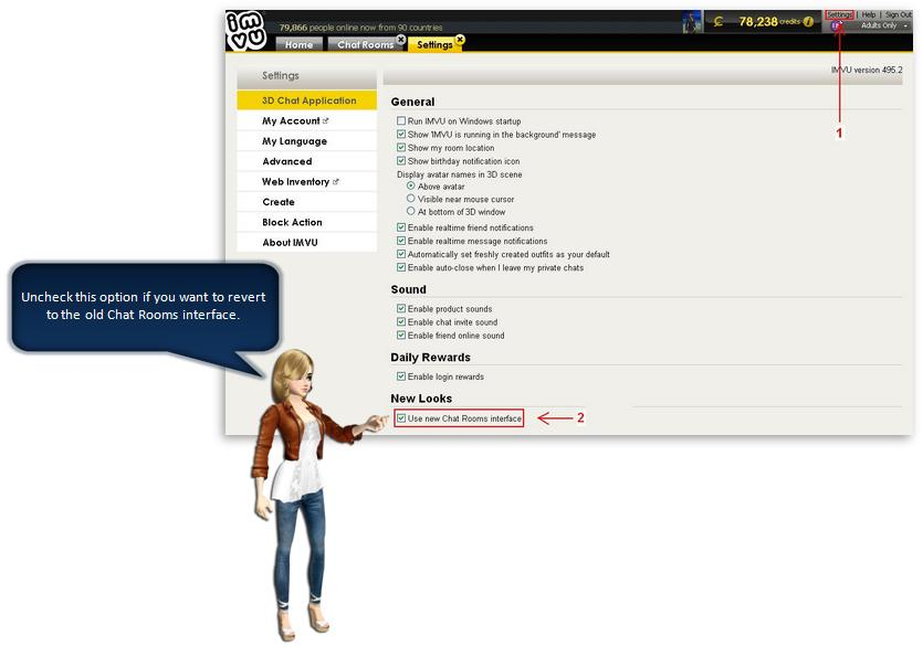 the imvu themed rooms interface