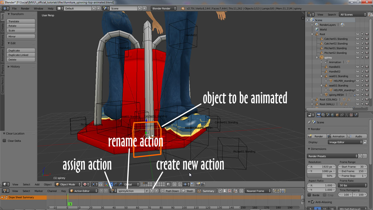 Elements of an Action in Blender