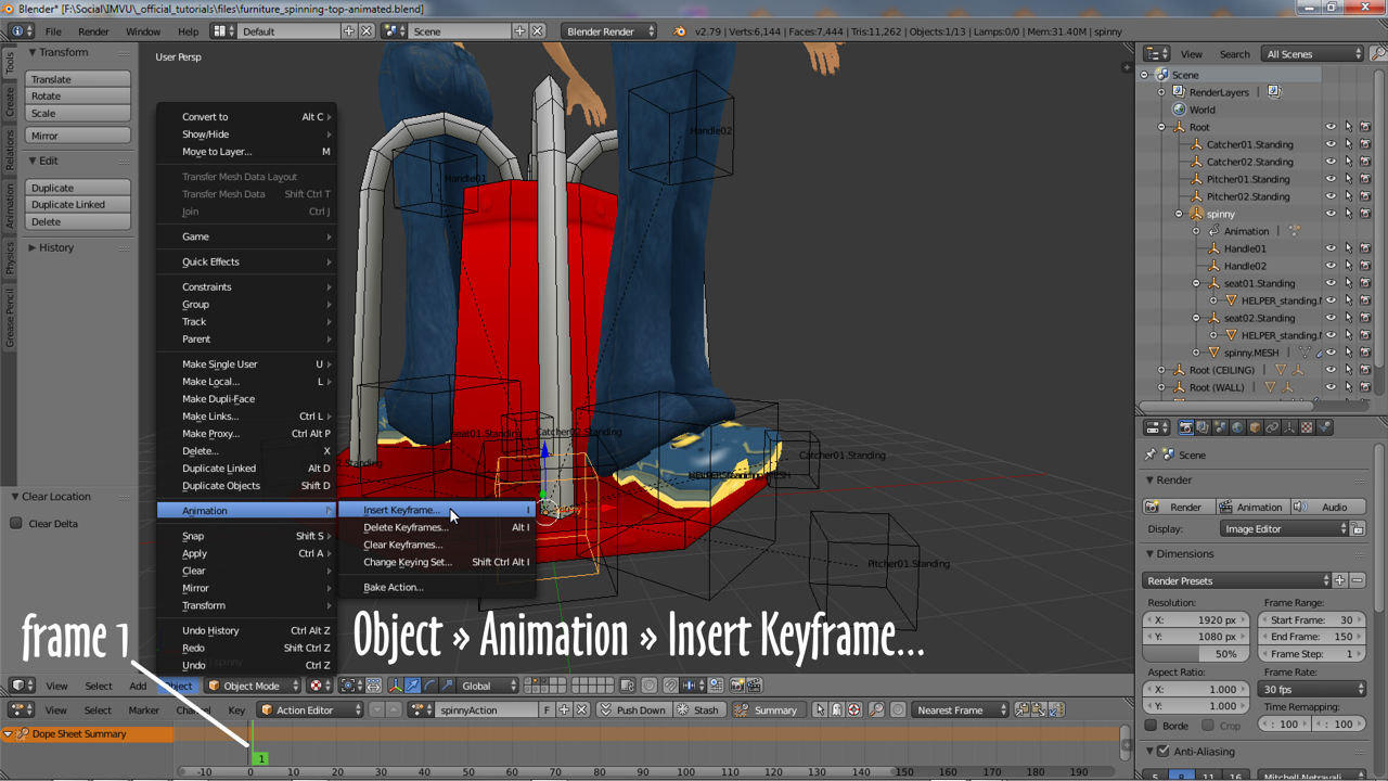 Inserting a keyframe into the Action Editor timeline