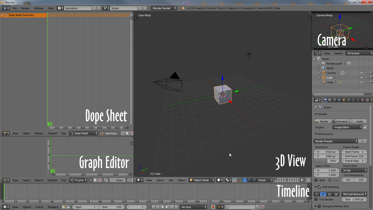 Animation layout showing some of the different animation editors in Blender