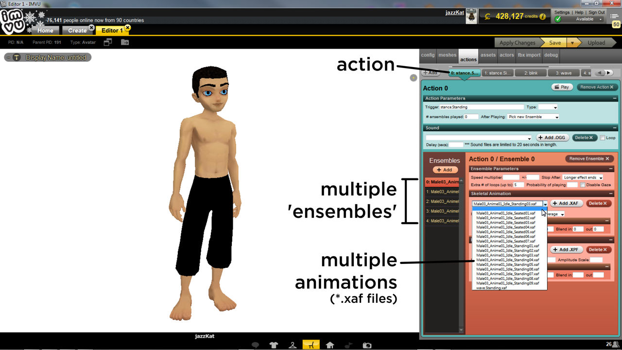 Setting up an action that uses multiple animation is the same as for a single except it uses more sequences