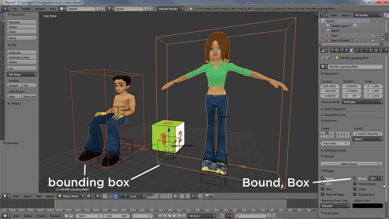 The default poses indicate how much room the avatars occupy, better visualised enabling bounding boxes