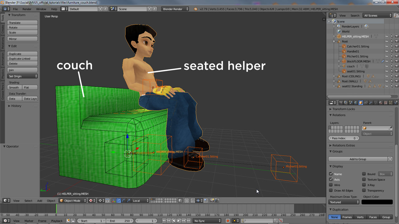 The seated helper being used to position the seat nodes and avatar in relation to a couch