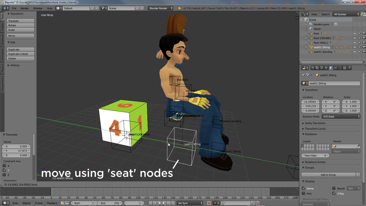 Select the large seat node to move the helpers as a group