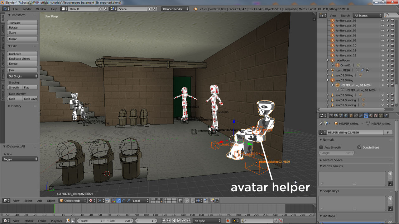 Avatar helpers aid setting up where the avatar appears in rooms and on furniture items