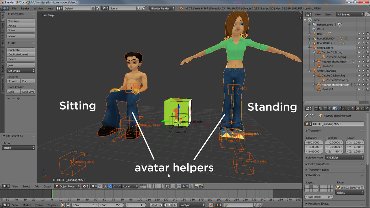 Each helper is accompanied by a set of nodes used to position the avatar