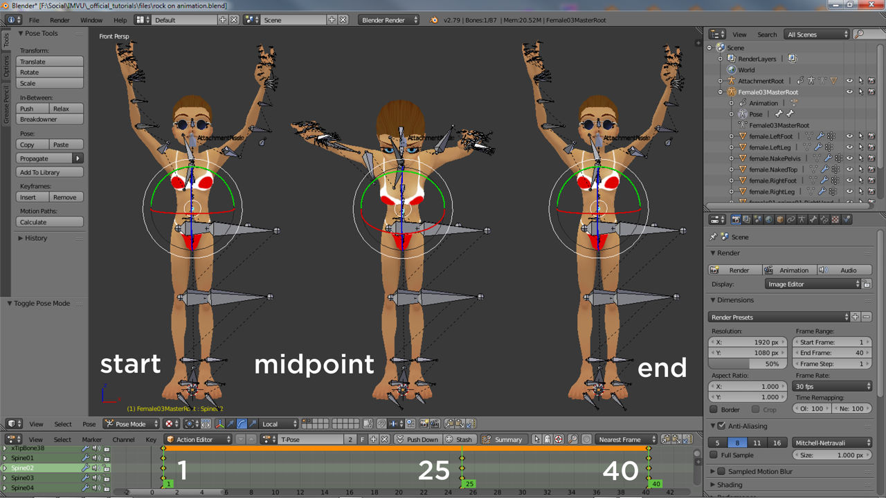 The start and end frames of a cycling animation should be the same