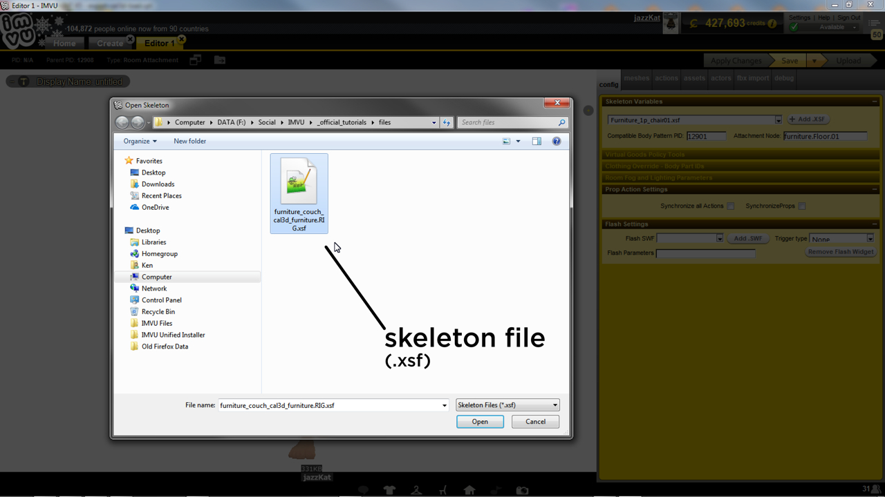 Manually loading an XSF skeleton file into a derived project in IMVU