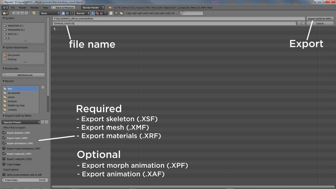 A number of files need to be generated when exporting to Cal3D, typically skeleton, mesh and materials