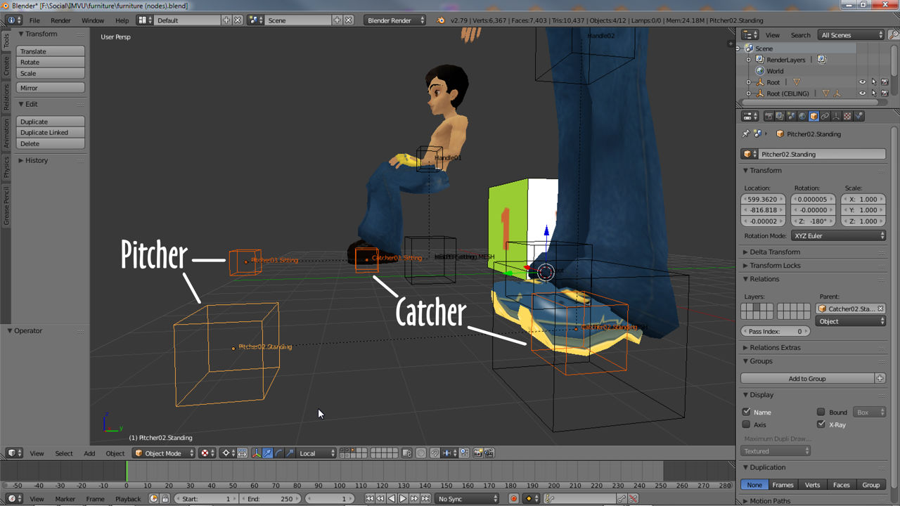 Catcher & Pitcher for sitting and standing poses in Blender