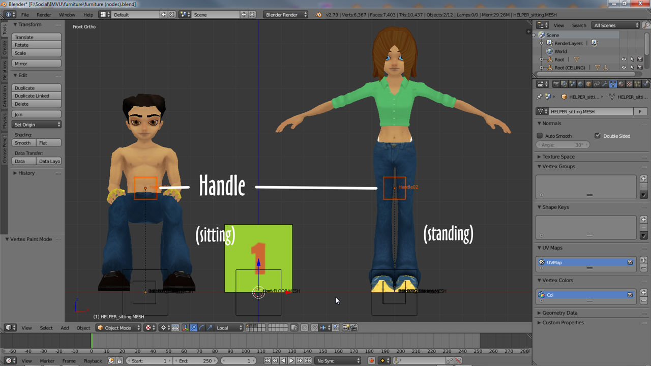 The default position of the Handle node (shown in Blender)