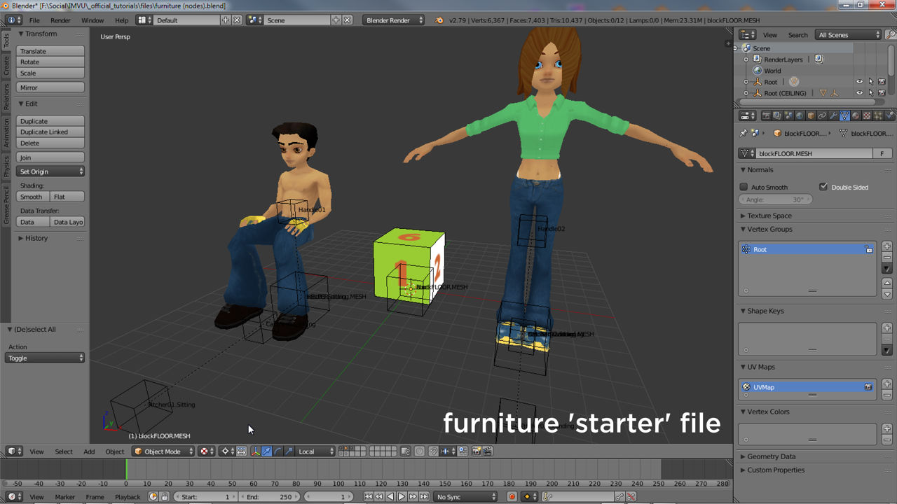The furniture starter file for Blender