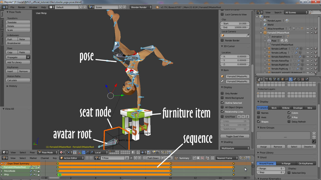 Overview of a static pose in Blender showing 3D View and Action Editor