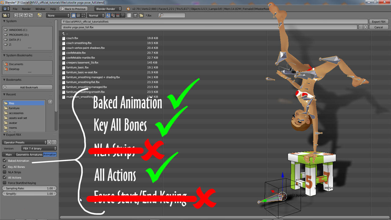 Blender FBX settings for poses