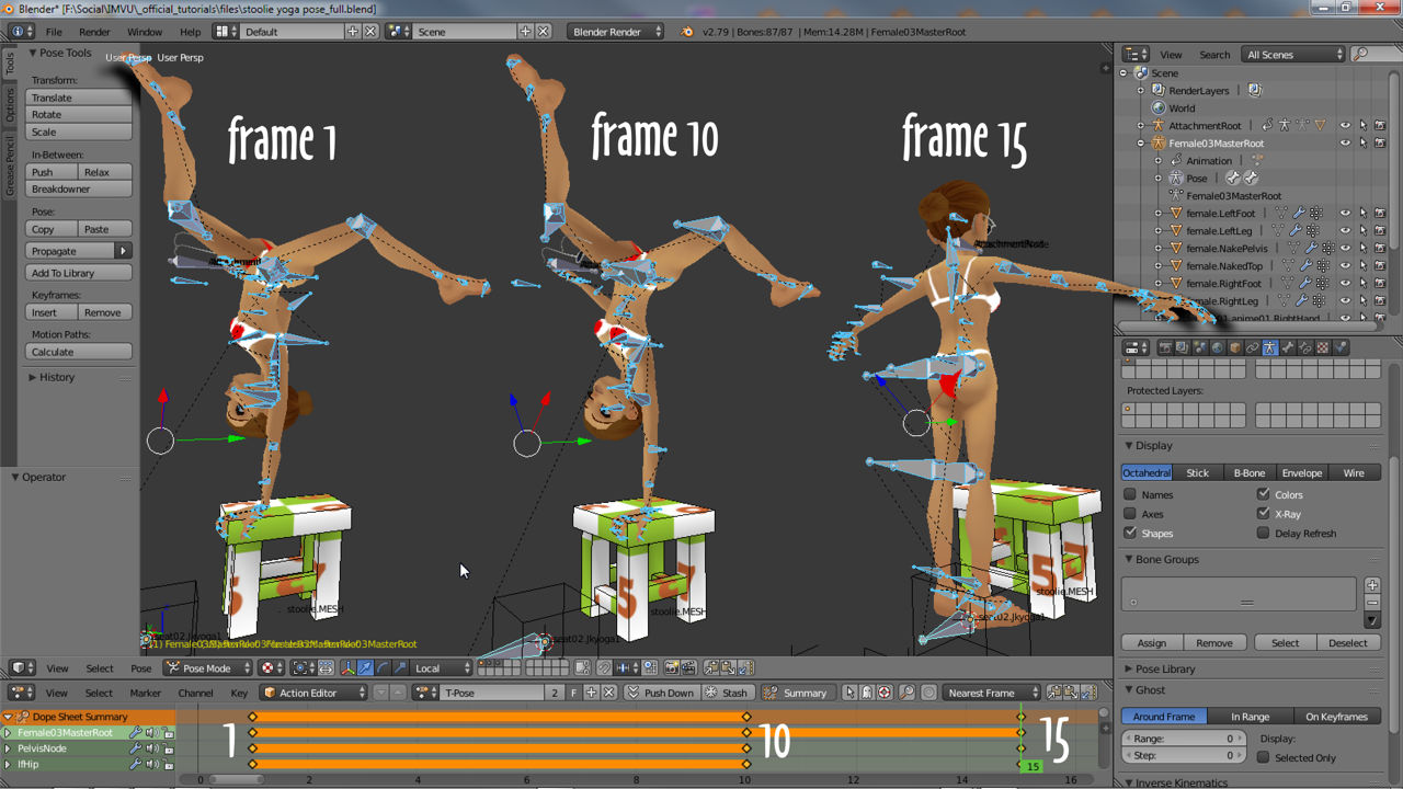 Static pose sequence in Blender