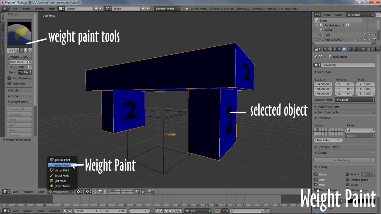 Switching to Weight Paint mode in Blender with object selected