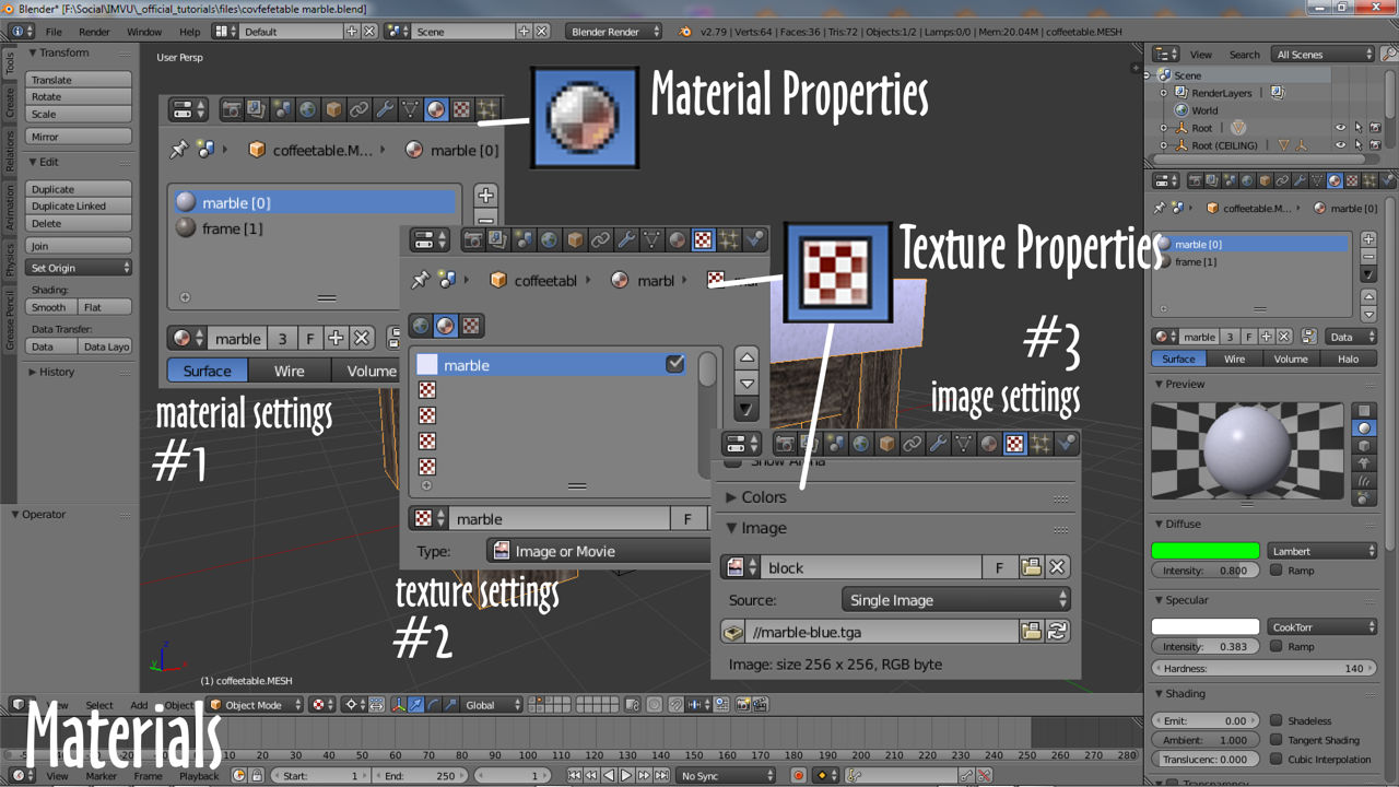A materials components in Blender
