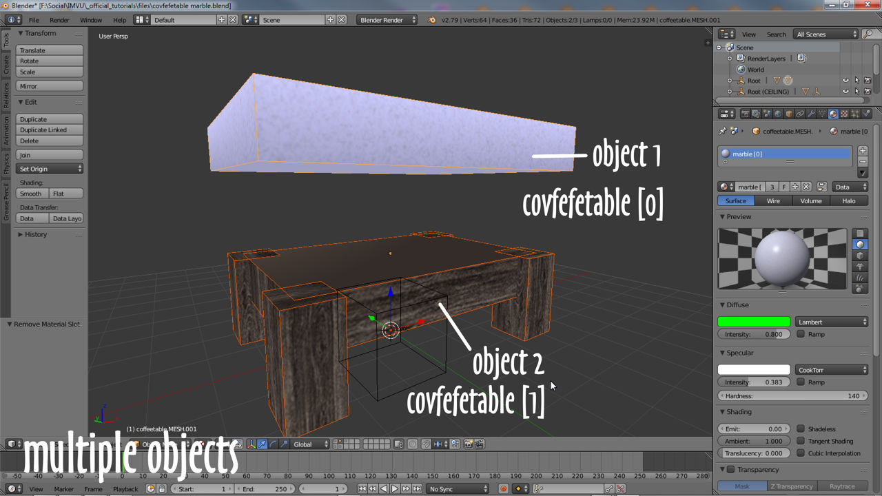 Materials when using mutiple objects