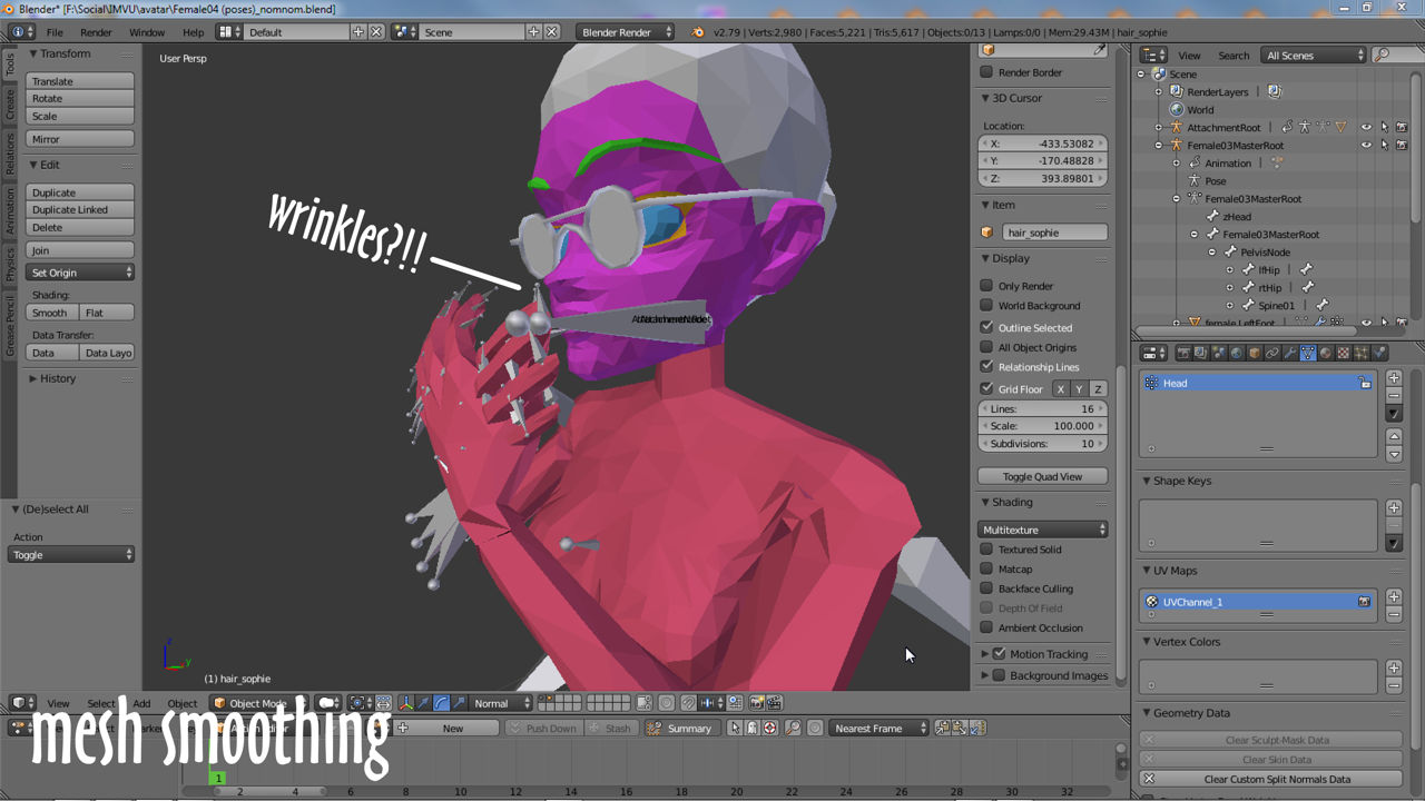 Wrinkles?!! Without Smoothing meshes appear facetted (wrinkles to an avatar)