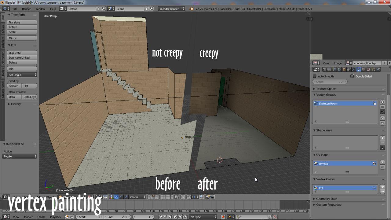 Creepers basement room, not creepy vs creepy with vertex shading