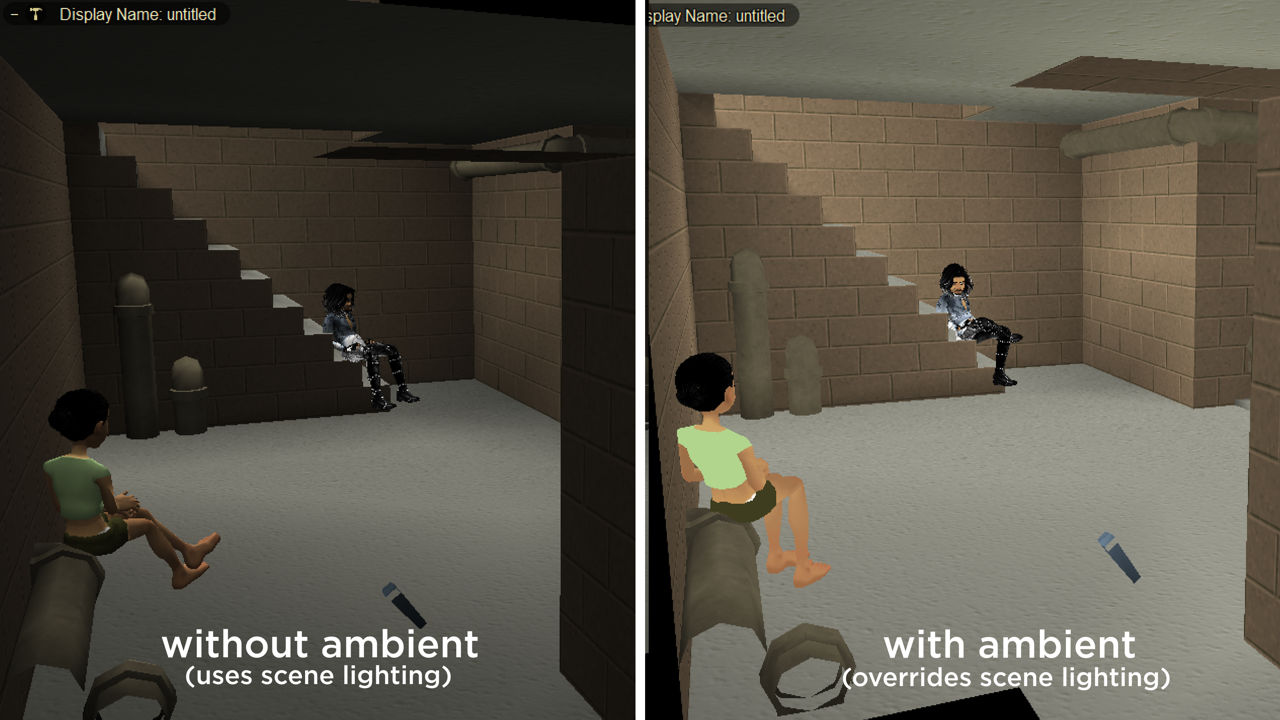 Different ways to lit rooms using lights (left) and ambient (right)