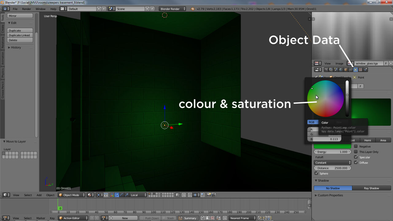 The colour of lighting can be changed in Blender when using Lamp objects