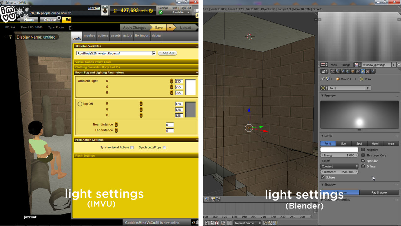 Changing lights depends on the type, either in IMVU (ambient) ot Blender (omni/spots)