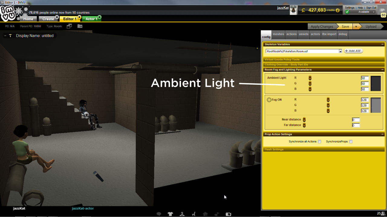 Rooms can also be changed making adjustments to ambient light in Create mode