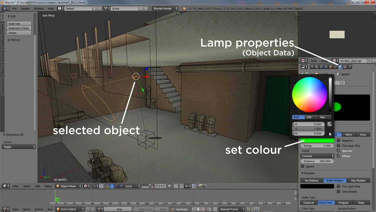 Lights can be colour tinted in Blender from Object Data properties