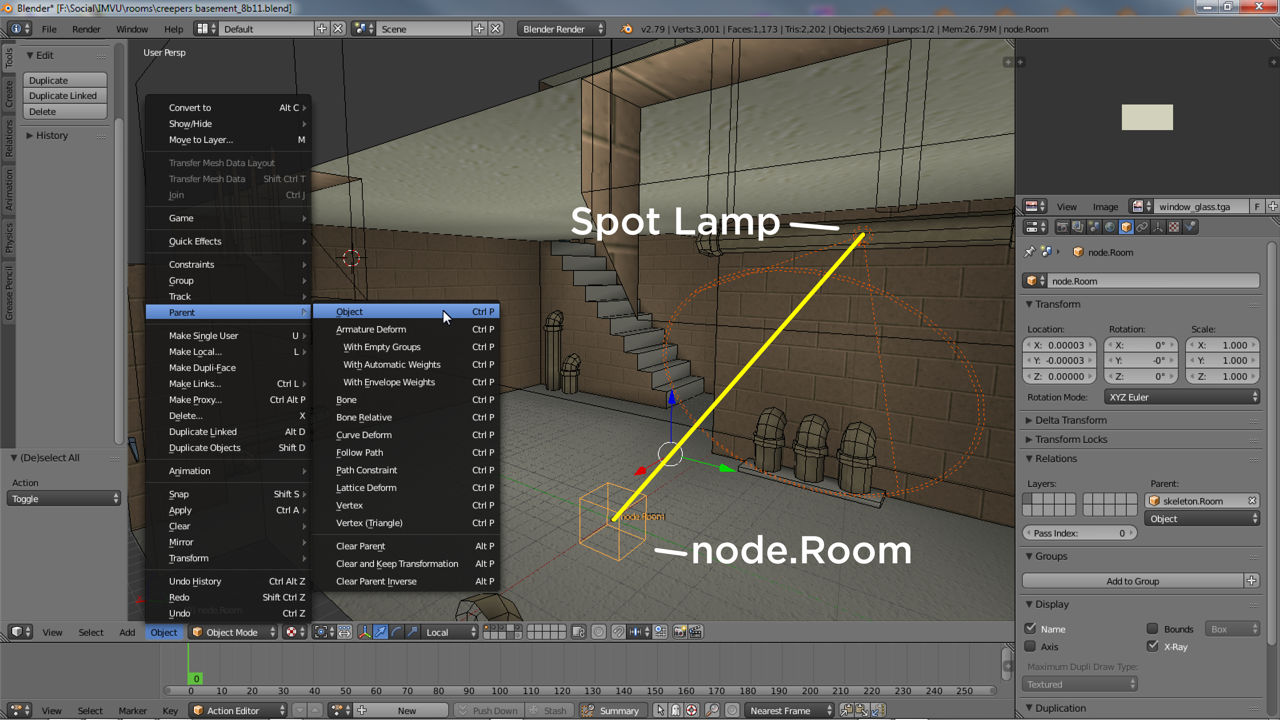 Spot lights also need to be parented to node.Room