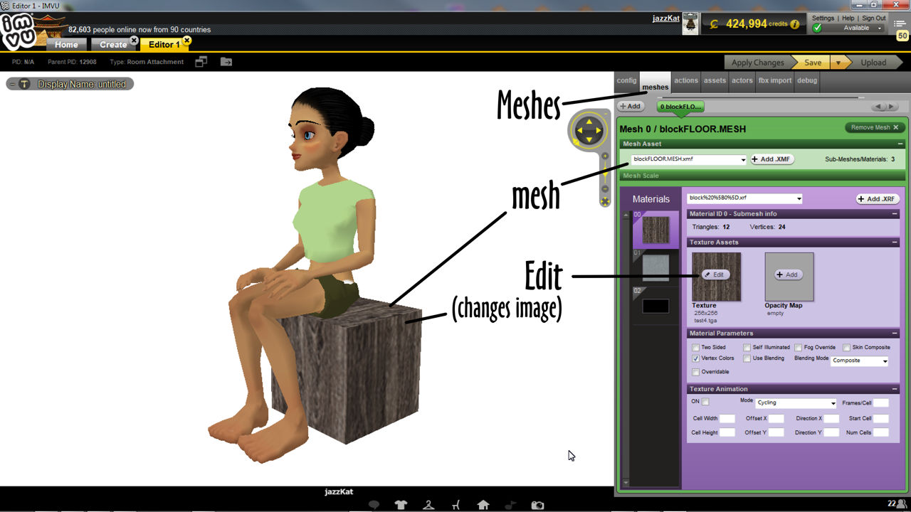 IMVU auto-assembles the item ready for editing, i.e. texture replacement
