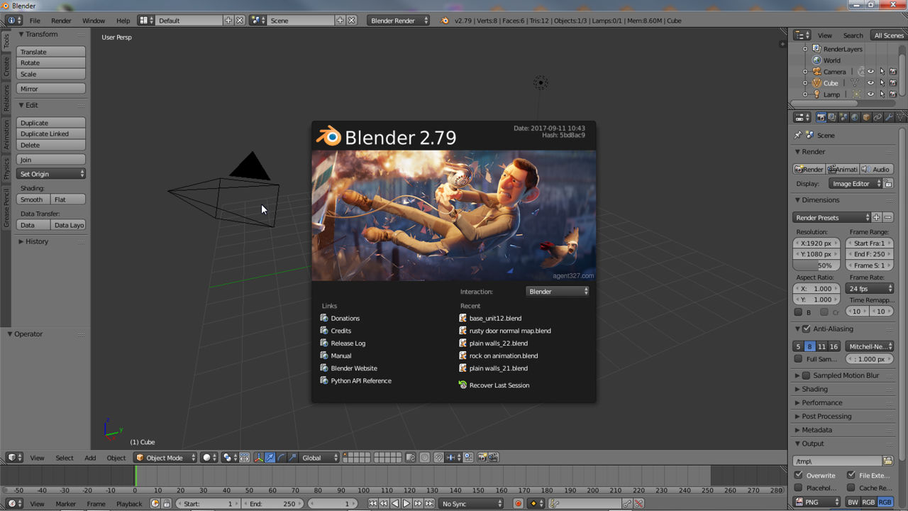 Blender's appearance when opened, click anywhere to close the Splash Screen