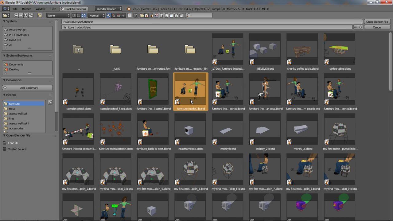 Open the furniture starter file using Blender's file browser