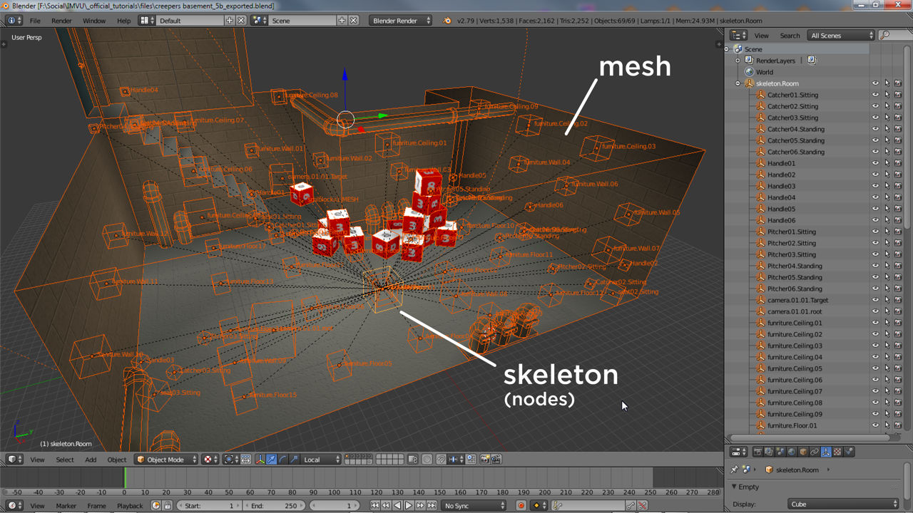 A more complex skeleton of nodes for a room