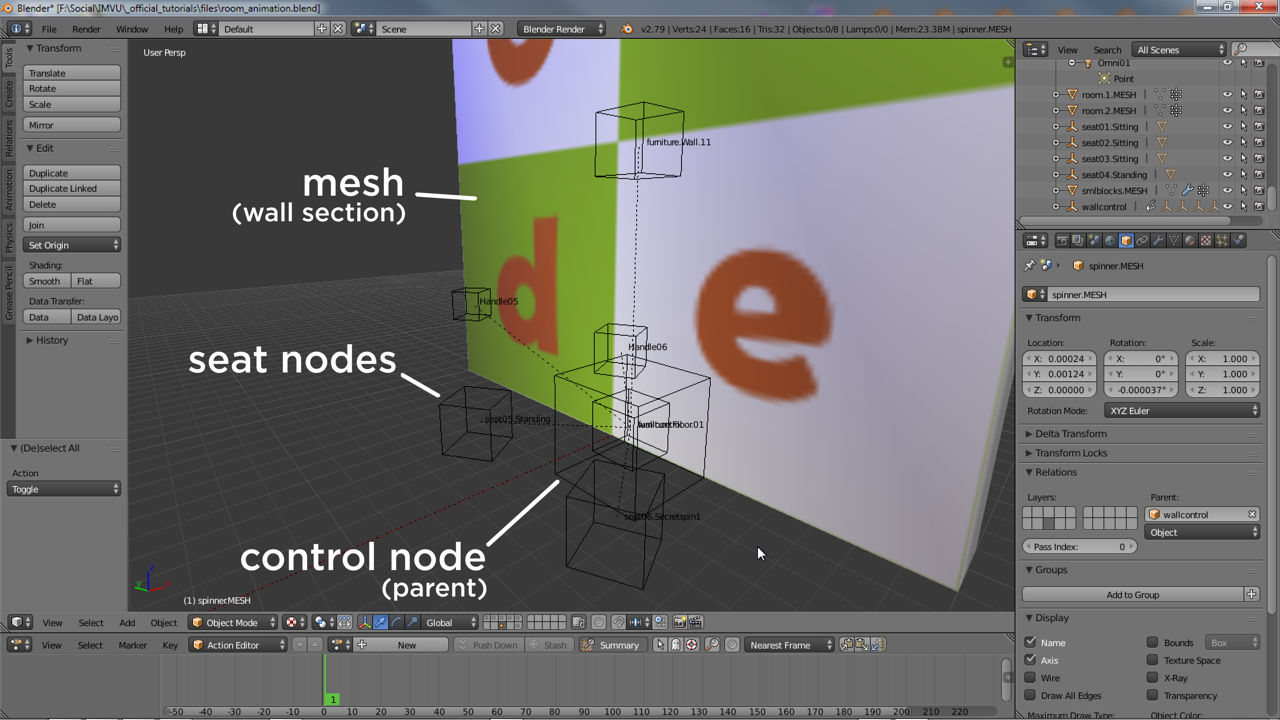 The animated wall section set up in Blender, mesh and nodes forming sub-skeleton