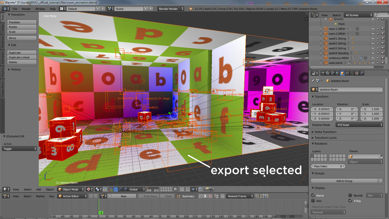 Everything to be included needs to be selected in Blender