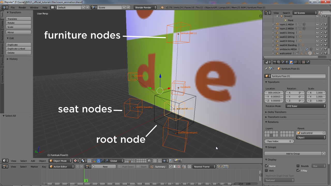 Animated elements can include furniture nodes and seating