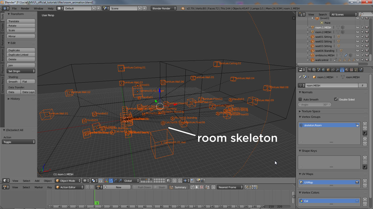 Typical room skeleton an animated section will be part of