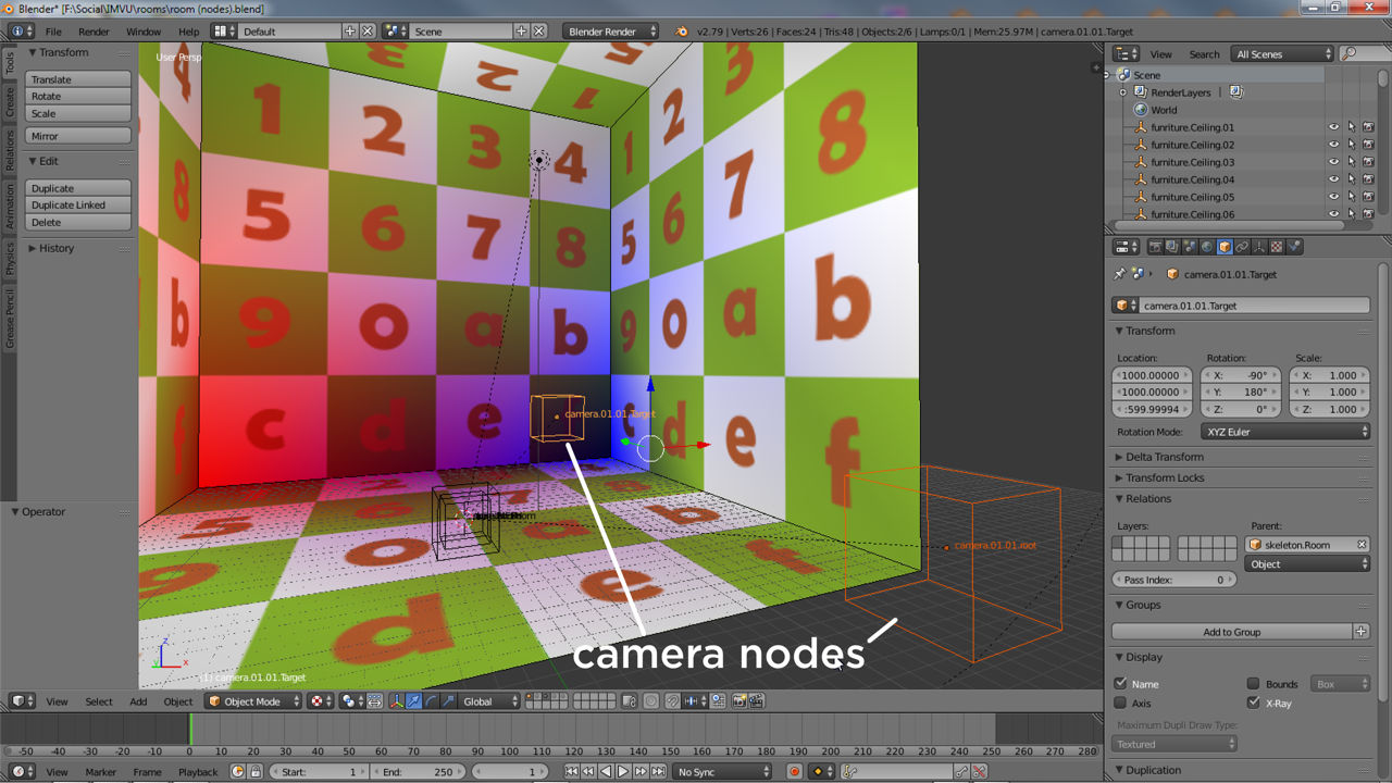 For Blender IMVU cameras are a two-node pairing, a root and target