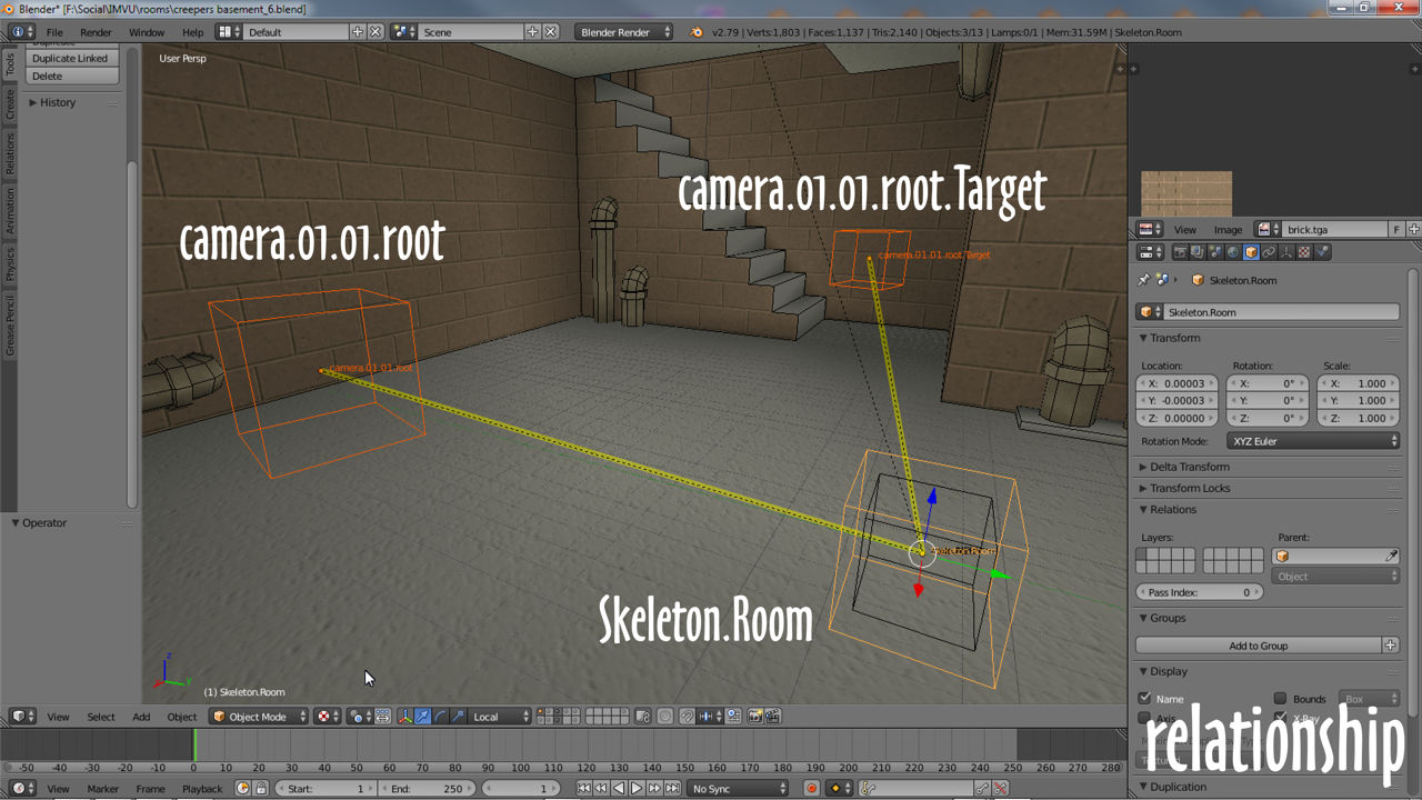 Parent both camera nodes to Skeleton.Room